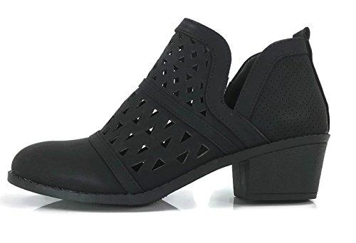 Steven Ella Women's Audrey Ankle Bootie Cut Out V Side Faux Leather Flat Heel Zipper, Black, 7.5