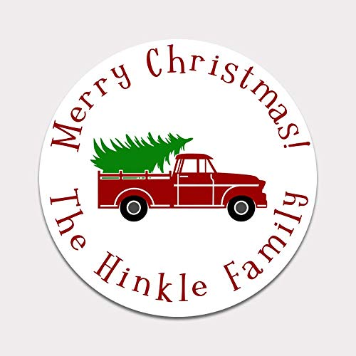 Personalized Christmas Tree Truck Gift Stickers - Set of 20 Merry Christmas Labels (GT48) (Christmas Personalized Wrap)