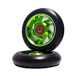2Pcs 100 mm Pro Stunt Scooter Wheels with Abec 9 Bearings for MGP/Razor/Lucky/Envy/Vokul Pro Scooters Replacement Wheels (Green)