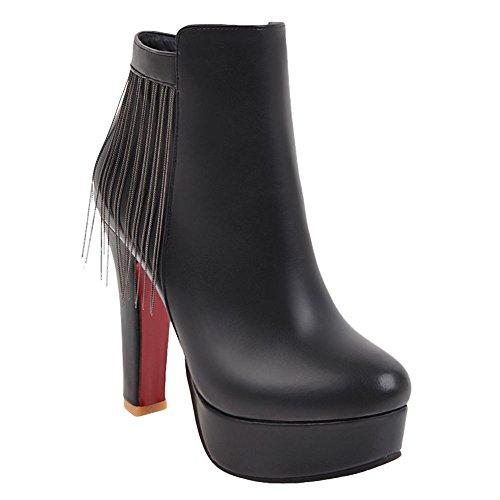Platform Women's Sexy Tassel Dress Chic Boots High Carolbar Heel Black Short xOYwPZqdA