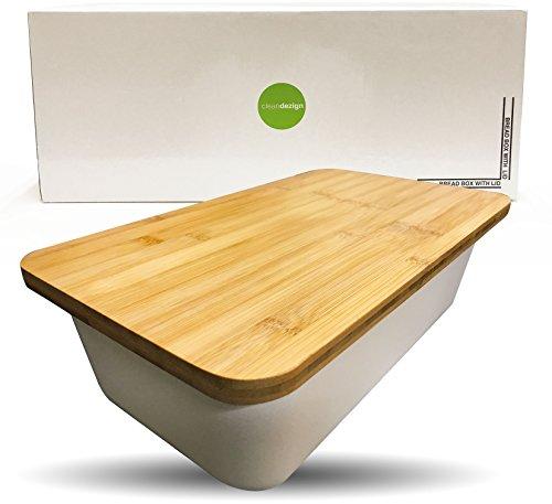 Clean Dezign Bamboo Fiber Bread Box Bin with Cutting Board Lid (Natural White) (Bread Box Jumbo)