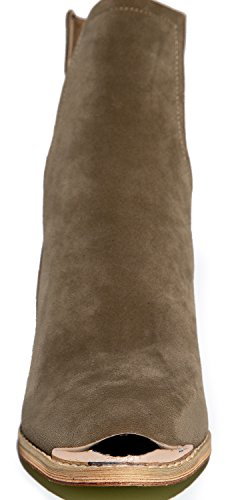 Western Slip On V Cut Out Stacked Heel Bootie Side Cut Metal Tipped Ankle Pull Cowboy Womens Boot Mid Calf
