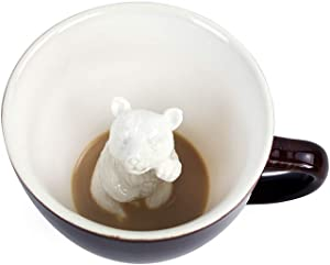 CREATURE CUPS Bear Ceramic Cup (11 Ounce, Dark Brown) | Hidden Animal Inside | Woodland Cub | Birthday Gift for Coffee & Tea Lovers