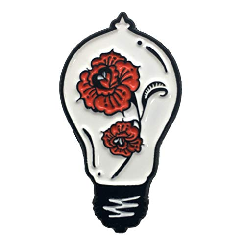 Ectogasm 100136 Red Roses in a Lightbulb Enamel Pin