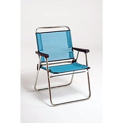 FORMA MARINE Chaise De Plage Pliable Weekend Structure En Aluminium Anodise 21mm Tissu Textilene 420gr M2 Bleu Blanc Raye
