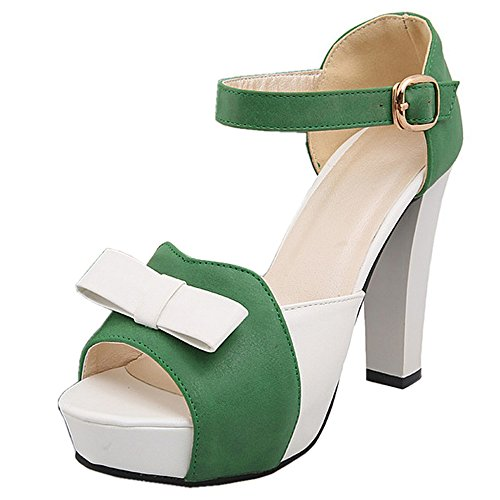 CoolCept Women High Heel Ankle Strap Sandals with Bowtie Green Co4HJSly3