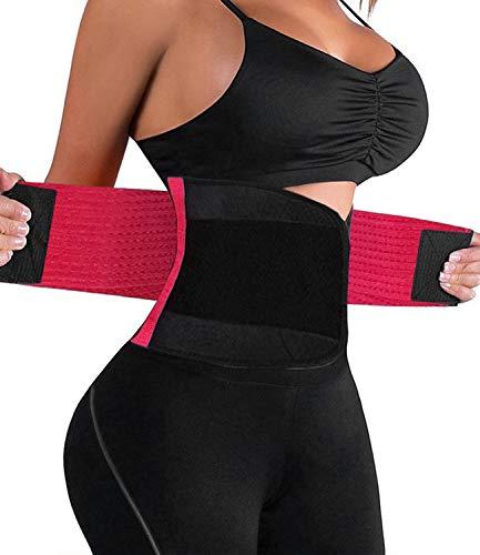 HURMES Waist Trainer Belt for Women - Waist Cincher Trimmer Slimmer Body Shaper Belt (Rose Red, XXL)