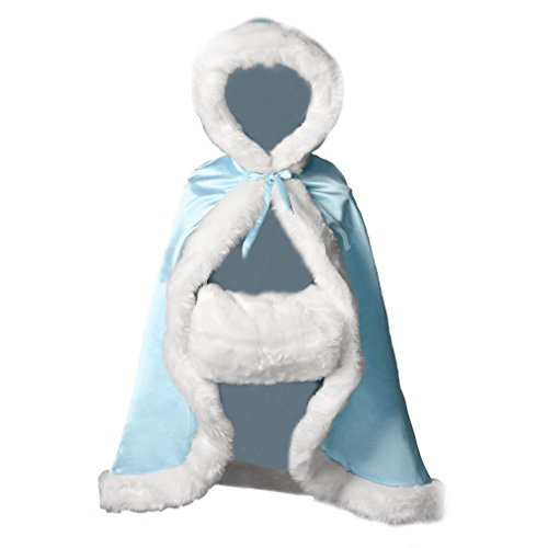 BEAUTELICATE Flower Girl Cape Winter Wedding Cloak for Infant Junior Bridesmaid Hooded Reversible Powder Blue 32 -