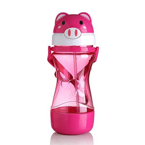 Pocket shop-Large capacity kettle 500ML Baby Drinking Cups Bottle with Straw Portable PP Feeding Cup Flip Insulated Milk Bottle,Pink with Strap