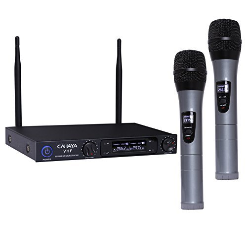 CAHAYA Microphones VHF Wireless Microphone System with Dual Channel LCD Display for Conference Party