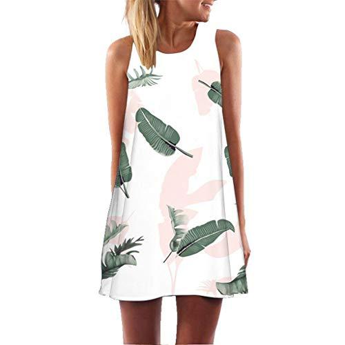 Sunhusing Ladies Summer Vintage Bohemian Beach Style Print Sleeveless Round Neck Mini Short A-Line Dress