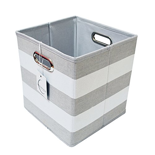 (Foldable Storage Cube Basket Bin Box - Best Fabric Canvas Collapsible Storage Container for Your Office, Bedroom, Closet, Toys, Laundry - Grey and White Striped - 11 x 10.5 x 10.5)