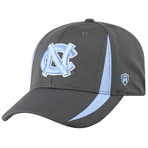 World North Carolina Tar Heels - Top of the World NCAA North Carolina Tar Heels Men's Performance Fitted Charcoal Triumph Icon Hat, Charcoal