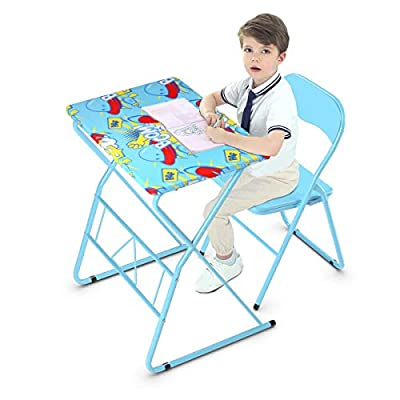 Costzon Kids Table and Chair Set, Study Desk and Folding Chair for Boys & Girls, Activity Table Set with Steel Frame, Non-Slip Mats and Bright Color for 4-12 Years, Kids Furniture, Blue: Toys & Games