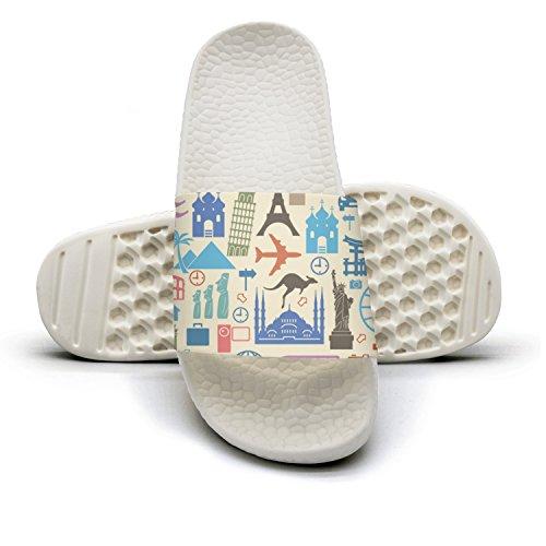 Men's Travel To The World Tourist Icons Non-Slip Soft Foams Slipper Home Slide Sandals
