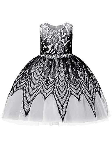 Skirt Zip A-line Back (Blevonh Elegant Dresses for Girls Kids Tutu Dress with Sleeveless Cute Back Knot Beautiful Pleated A-Line Tea Length Fitting Skirt Formal Bridal Wedding Dress White 130(6 Years))