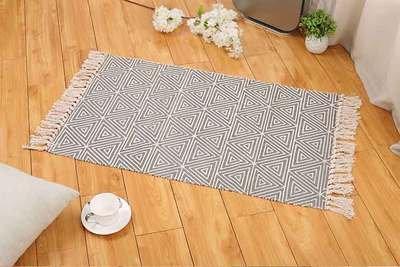 Geometric Fringe (Ecohome Cotton Bath Runner Printed Fringe Rug Geometric Rug for Entry Way Washable Carpet for Kitchen (24