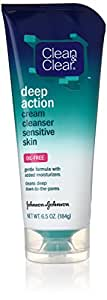 Clean & Clear Oil-Free Deep Action Cream Cleaner for Sensitive Skin, 6.5 Ounce  (Pack of 4)