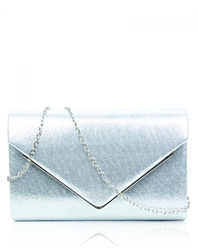 Faux Clutch Women's CWE00264 Silver Flap LeahWard® High Leather Quality Handbag Style Purse Envelop 5F7P87