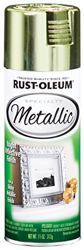 Rust-Oleum 1936830 Specialty Topcoat Metallic Spray Paint, 11 Oz Aerosol Can, 10-12 Sq-Ft, Each, Brass