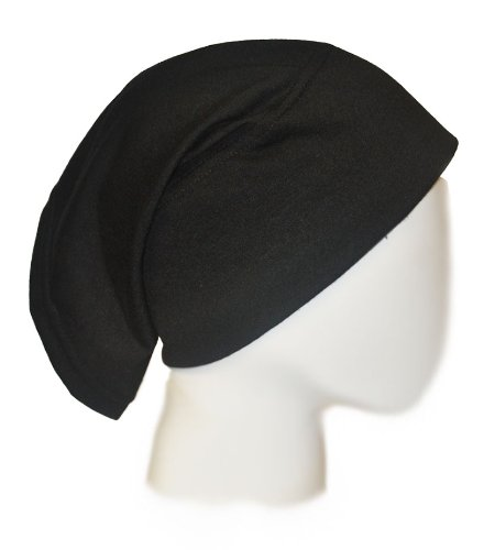 Black Under Scarf Tube Cap with Brim (Hijab Accessory)