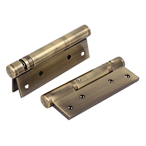 Ranbo Stainless Steel Heavy Duty Spring Loaded Door Butt Hinge,Automatic Closing/Soft Closer/Adjustable Tension/Support Buffer gate 5 X 3 inch Brushed Chrome(1 Pair) Thickness 2.9 mm ()