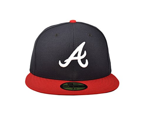 New Era 5950 Home Cap - New Era 59FIFTY Atlanta Braves Navy/Red MLB 2017 Authentic Collection On Field Home Cap Size 7 1/4