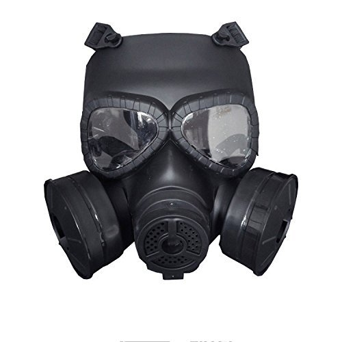 MANUO irsoft Dummy Gas Mask for Tactical Paintball War Game with Double Filter Fans,Full Face Guard Antivirus Skull Mask for Halloween Masquerade Cosplay ()