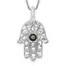 "925 Sterling Silver Green Abalone Shell Evil Eye Hamsa Hand of God Pendant Necklace, 18"""
