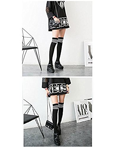 Women Triple Stripe Tube Dresses Over the Knee High Socks Anime Cosplay Cosplay Props 3 Pairs