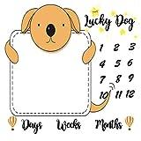 F-Fun Soul Baby Monthly Milestone Blanket Lucky Dog Photography Props Backdrop for Newborn Boy Girl FSLX054