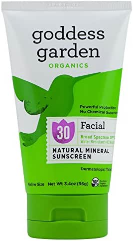 Goddess Garden Organics SPF 30 Facial Natural Mineral Sunscreen Lotion for Sensitive Skin (3.4 Ounce Tube) Reef Safe, Water Resistant, Vegan, Leaping Bunny Certified Cruelty-Free, Non-Nano