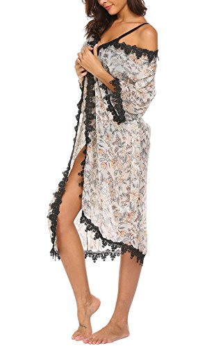 Imposes Women Beach Cover up, Floral Print Cardigan Chiffon Loose Bikini Blouse (L,White) by Imposes (Image #2)
