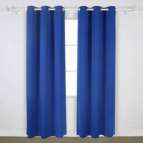 Monroe Solid Blackout Panel Grommet Curtain Thermal 40″ x 63″ / 84″ / 95″ / 108″ Energy Saving Soft Foam Backing Bronze Grommet All Sizes & colors Available (63″ Short, Royal Blue)