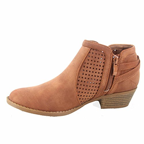 Women's Zipper Shoes Moda Stylish Booties Top Low Toe Tan 38 Heel Almond Chevy Buckle tUxd7d8