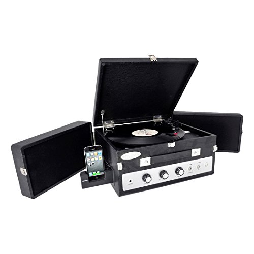 Updated Portable Suitcase Record Player - 3-Speed Turntable with Radio, Aux-In, and Bluetooth, Vintage Retro Classic Style, Vinyl-To-MP3 Recording - Pyle PLTT82BTBK - Pyle Classical Turntable