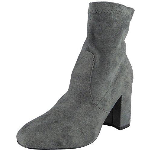 Loud Look Ladies Faux Suede Zip High Cuban Heel Work Plain Ankle Boots Size 3-8 Grey jXi6H