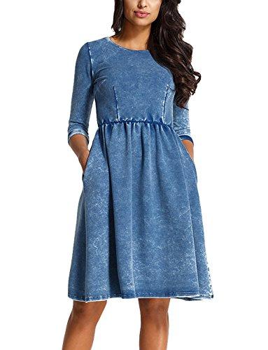 Jeansimitierung Dame L230 Kleid Rundhals 3 A-schnitt Midi Dunkelblau 4 Ärmel Lemoniade