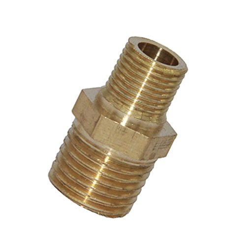 MonkeyJack Double Ended Brass Straight Pipe Fitting Air Hose Line Adapter Water Pipe Coupler Reducer - 1-4 to 1-8, as described