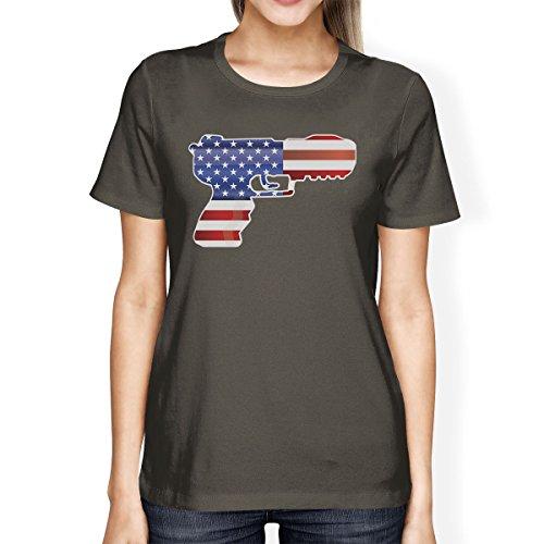 gris oscuro una Camiseta estadounidense Pistola corta pieza para Printing de con de manga bandera 365 mujer Camisa anwYqZ5H