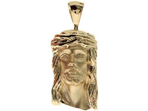 Custom Made Solid Heavy Genuine 14K Yellow Gold Hip Hop Style Christ Jesus Piece Religious Charm Pendant by Traxnyc
