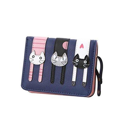 Mini Faux Leather Bifold Cute 3 Cat Zipeer Clutch Wallet Handbag for Women Girls