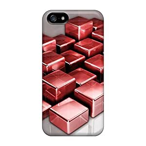 Iphone 5/5s 3d Red Cubes Print High Quality Tpu Gel Frame Case Cover