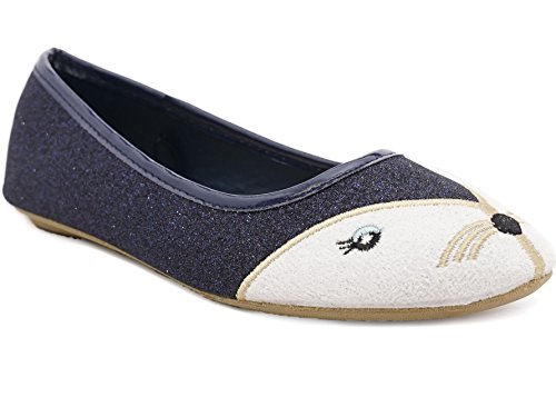 Simply Petals Toddler Little Girls Animal Dress Shoes - Sparkle Glitter Ballet Flats (12 Little Kid, Navy)