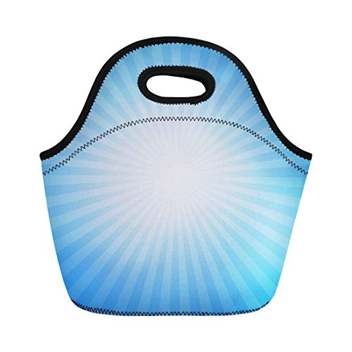 - Semtomn Neoprene Lunch Tote Bag Blue Light Turquoise Starburst Effect Sun Burst Cyan Sunlight Reusable Cooler Bags Insulated Thermal Picnic Handbag for Travel,School,Outdoors,Work