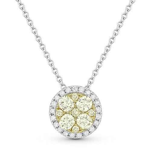 Eros' Iced Showroom Yellow-Diamond Gemstone & Accented White Diamond Pendant-Necklace Set In 18K White-Gold 0.1 Ct Gemstones