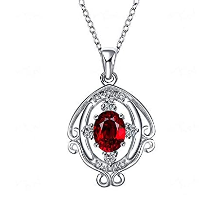Women Elegant Home European and American Fashion Gemstone Necklace, Ladies and Autumn Hundred Matching Accessories, Multicolor (Color : Blue) (Color : Red)