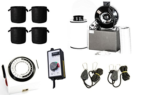 GrowPower 6 Inch Inline Carbon Filter Fan Combo For Grow Tent Ventilation with Carbon Air Scrubber Filter 460 CFM 6'' Inline Fan Controller Ducting 7-Gallon Fabric Pots Light Hangers Light Timer by American Greenpower USA