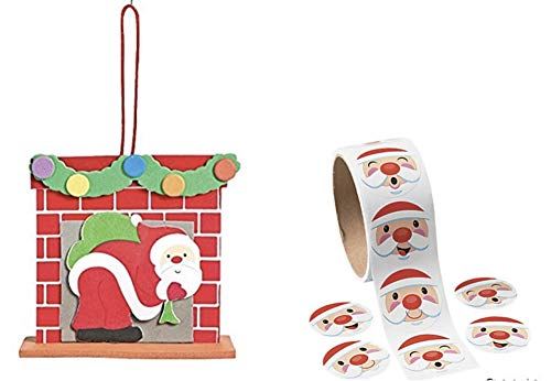 3D Santa Chimney Ornament Foam Craft Kit and Santa Face Roll Stickers (Makes 24 Plus 100 Stickers)