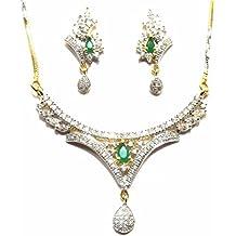 Shingar Jewelry Ksvk Jewels Cubic Zirconia (CZ) Tanmania Pendant Set For Women (9943-psad-green)